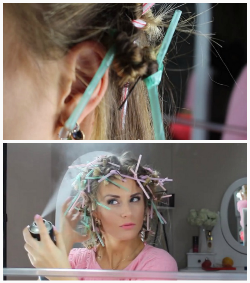 Curling your hair with straws